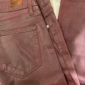 Paige burgundy waxed jeans